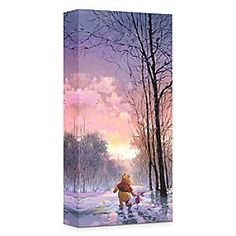 Disney ''Snowy Path'' Giclée on Canvas by Rodel Gonzalez   Disney Store''Snowy Path'' Gicl�e on Canvas by Rodel Gonzalez - Winnie the Pooh and Piglet take a winter stroll through the Hundred Acre Wood in this limited edition gicl�e. Created by artist Rodel Gonzalez, ''Snowy Path'' is gallery wrapped on canvas, and sure to inspire warm smiles.