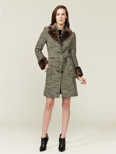 Love Moschino Leopard Trimmed Tweed Coat