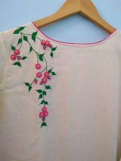 Embroidery On Kurtis, Hand Embroidery Dress, Kurti Embroidery Design, Hand Embroidery Videos, Hand Embroidery Tutorial, Embroidery On Clothes, Hand Embroidery Stitches, Embroidery Fashion, Cute Embroidery