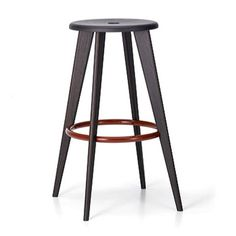 Classic!  Notice how the foot rail is on the inside -- does not bang into the casework! Jean Prouvé Tabouret de Bar Barstool