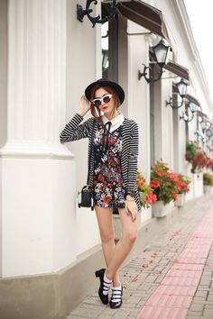 preppy look: floral romper +white shirt+  striped cardigan! wearing white sock with classic shoes <3