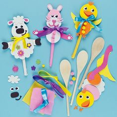 Easter Spoon Pal Kits (Pack of Art Activities For Kids, Easter Activities, Preschool Crafts, Easter Crafts, Art For Kids, Crafts For Kids, Wooden Spoon Crafts, Wooden Spoons, Spring Crafts
