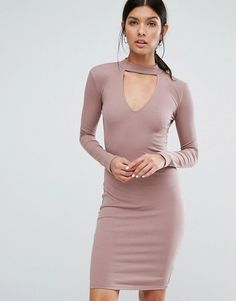 This chic choker-collar bodycon with long sleeves and an edgy cutout. | 19 Going-Out Looks For When It's Cold As Balls