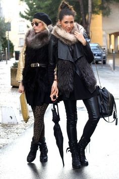 This duo ties for style; love the chic beret and fur wrap, and the leather and fur mix with a high no muss, no fuss ponytail.
