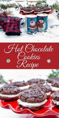Homemade Marshmallow Fluff, Marshmallow Cookies, Homemade Marshmallows, Holiday Treats, Christmas Treats, Christmas Cookies, Chocolate Dipped Cookies, Cocoa Cookies, Easy Baking Recipes