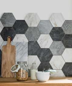 I love these hexagon tiles from topps tiles, they really add a unique look to a kitchen. gray marble tiles for kitchen Kitchen Tiles Design, Kitchen Wall Tiles, Tile Design, Kitchen Flooring, Kitchen Backsplash, Backsplash Ideas, Bathroom Wall, Kitchen Countertops, Black Backsplash