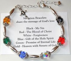Swarovski and Silver Beads Beaded Salvation Bracelet by BestBuyDesigns. Buy a finished bracelet or buy the kit to make it yourself! Jewelry Kits, Wire Jewelry, Jewelry Crafts, Beaded Jewelry, Jewelry Bracelets, Handmade Jewelry, Jewlery, Silver Bracelets, Silver Rings