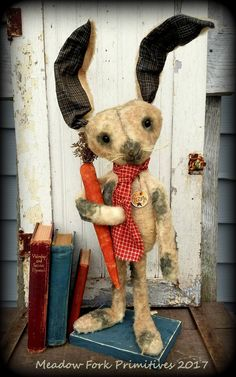 "Primitive Folk Art Standing Fur Rabbit with Carrot *Gizmo*-OOAK-Whimsical-Farmhouse-28""-Vintage-Art Doll-Handcrafted-Hafair Team-Faap by MeadowForkPrims on Etsy"