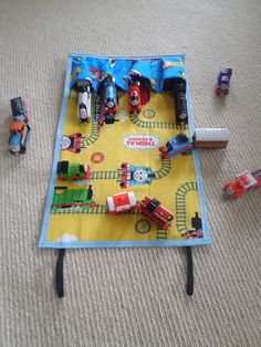 Awesome travel craft toy !!!  Thomas the Tank Engine Travel Toy chalk cloth by LambandWolfie, $24.50 - travel gear for happy family travels - continentalkid.com