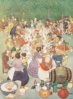 """""""Now to the banquet we press/ Now to the eggs and the ham./ Now to the muffin and toast,/ now to the strawberry jam.."""". -- Scene from """"The Sorcerer"""".  Illustrator: W. Heath Robinson"""