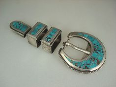 OLD NAVAJO STERLING SILVER & TURQUOISE INLAY 4 pc RANGER BELT BUCKLE SET