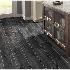 MSI Belmond Obsidian x Ceramic Wood Look Tile Color: Black Wood Tile Bathroom Floor, Wood Tile Floors, Ceramic Floor Tiles, Grey Flooring, Flooring Ideas, Vinyl Flooring, Black Wood Floors, Grey Hardwood Floors, Black Laminate Flooring