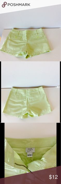 LOFT Pastel Lime Shorts LOFT Shorts in Beautiful Pastel Lime. Soft Material. See Pics4-6 for approx measurements. Pic4 Inseam: 4 inches, Pic5 Waist: 14.5 inches, Pic6 Side Length: 11.5 inches. No flaws. Great used condition. SIZE: 2. 🇺🇸👉🏽Ready to buy? Tell me & I'll drop price to get u that Memorial Wknd shipping discount! 👈🏽🇺🇸 LOFT Shorts