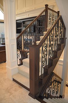 Staircase for the cabin. From second floor to entry level to basement