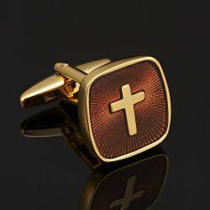 R&B Schmuck Herren Manschettenknöpfe Edelstahl - Vatikan Kreuz, Klassisch Elegant (Gold, Braun): 21,90€