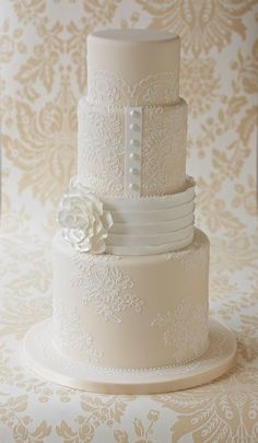 Indescribable Your Wedding Cakes Ideas. Exhilarating Your Wedding Cakes Ideas. Fondant Cakes, Cupcake Cakes, Cupcakes, Gorgeous Cakes, Pretty Cakes, Amazing Wedding Cakes, Amazing Cakes, Ivory Wedding Cake, Lace Wedding