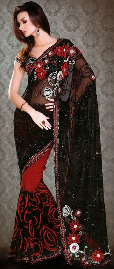 Black and Red Net and Georgette Saree with Blouse @ $254.87-utsav fashion