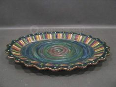 Beautiful MacKenzie-Childs Terracotta Trapeze Platter