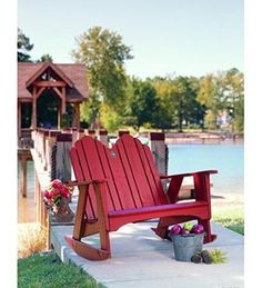 Uwharrie Pine Original Outdoor Two Seater Rocker Outdoor Rocking Chairs, Patio Chairs, Outdoor Furniture, Outdoor Decor, Cottage Style, Curb Appeal, Exterior Design, Outdoor Gardens, The Originals