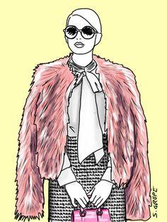Eine fluffige Pelzjacke in einer Akzentfarbe gibt auch klassischen Looks eine Prise Trend-Chic und ist - mit dem richtigen Schnitt - für jeden Figurtyp tragbar.