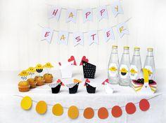 EASTER PARTY  Printable Easter Decor -Chicks and Hens Paper Craft Kit- Diy- Easter Egg Hunt - Paper Toy-Hens party - Easter Basket on Etsy, £6.79