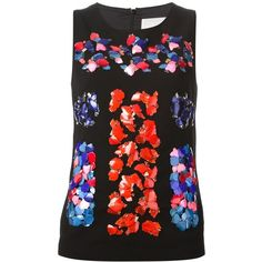 Peter Pilotto Embellished Tank Top ($521) ❤ liked on Polyvore featuring tops, black, colorful tank tops, black singlet, embellished tank, multi color tops and colorful tops