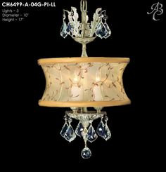 """ABC CH6499-A-O4G-PI-LL Llydia Collection Pendants ites: 3 Diameter: 10"""" Body Length: 17"""" Finish: 04G ~ Antique White Glossy Crystal Package: French Pendalogue Precision"""