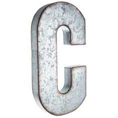 C Large Galvanized Metal Letter
