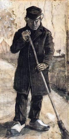Un Uomo Con Una Scopa 1881 - Dipinti ad olio