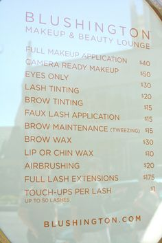 Need to make a menu like this for people who ask me to do their hair / makeup for events