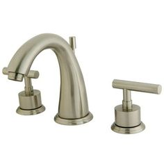 """Kingston Brass Manhattan Two Handle 8"""""""""""""""" to 16"""""""""""""""" Widespread Lavatory Faucet with Brass Pop-up - Satin Nickel"""