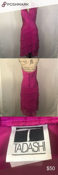 "Tadashi Pink Halter High Lo Style Evening Dress Tadashi Pink Halter High Lo Style Evening Dress in great condition. Great for a formal style event.   Measurements (approximate)  Size 12 Pit to pit 18"" Waist 15 1/2"" Length pit to bottom 32 1/2""  C15 Tadashi Dresses High Low"