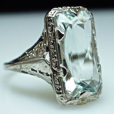 Art Deco Aquamarine Ring - Gold Filled Filigree - Size 4.25 from Jamie Kates Jewelry Collection at rubylane.com