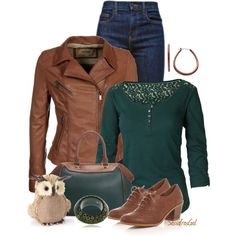 Denim & Evergreen, created by sassafrasgal on Polyvore