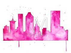 Oklahoma artwork Original Watercolor Painting, Tulsa Skyline - Pink home accessories and decor - wall art