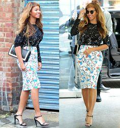 Love the skirt and heels not the top Beyonce in StyleStalker Mini Romper and Prada Heels