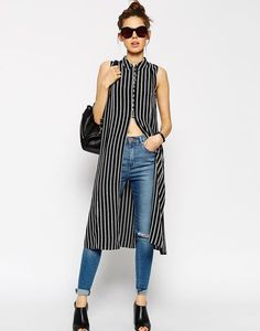 Long shirt over blue jeans stripes midi maxi casual everyday ankle mules backpack