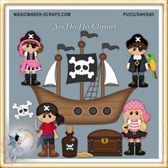Pirate friends fantasy clipart party by MagicmakerScraps on Etsy,