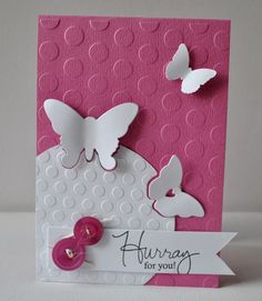 handmade congrats card from SCRAPPIETOO ... pink and white ... two sizes of embossing folder circles texture ... luv how she cut butterflies out over the border of the circle focal area ...