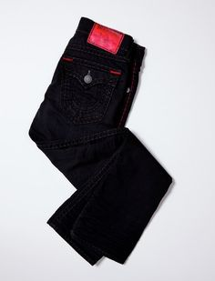RICKY STRAIGHT BLACK & RED SUPER T MENS JEAN #TRholiday13  True Religion is one of the best clothing brands ever created. Love their jeans and jackets with a passion. Double stitching makes the clothes stands out and gives a fierce appearance.