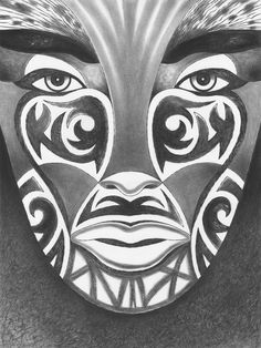"MAORI GODDESS Charcoal pencil on watercolor paper. 18"" x 24"""