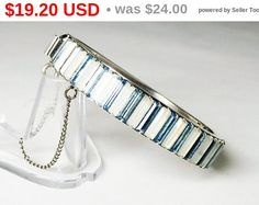 Blue Baguette Bangle Bracelet, Hinged Bangle - Silver Tone with Blue Rhinestones - Modernist Design - Pre 1997 Retro Era