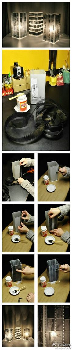 Film Strip Lampshade.... finally a way to show off old film strips from my photography class!
