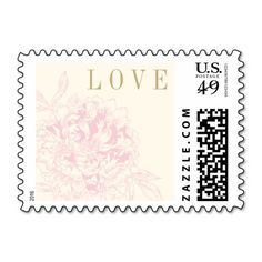Wedding Postage Stamps   Pink Floral Peony Design