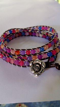 bracelet wrap de perle de cristal multicolores