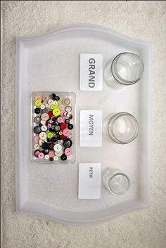 Trier des boutons par taille [activité Montessori
