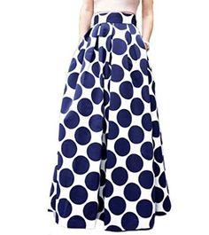 0cc6123757 Persun Women White White Contrast Polka Dot Print Maxi Skater Skirt US  $15.35 - $37.79 Printed