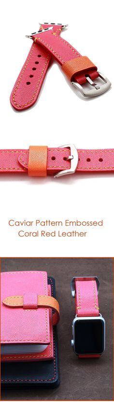 Hand stitched Apple watch band strap in caviar pattern embossed calf coral red. Comes with its buckle, 2 apple watch adapters - lugs.  By ZenokLeather