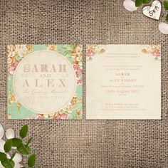 Vintage Floral Wedding Invite - Soft Summer Floral invite design with a vintage texture