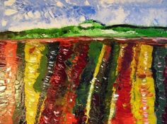 Flowerfield before town oil on canvas http://expressionist.jimdo.com #actionmaler.de